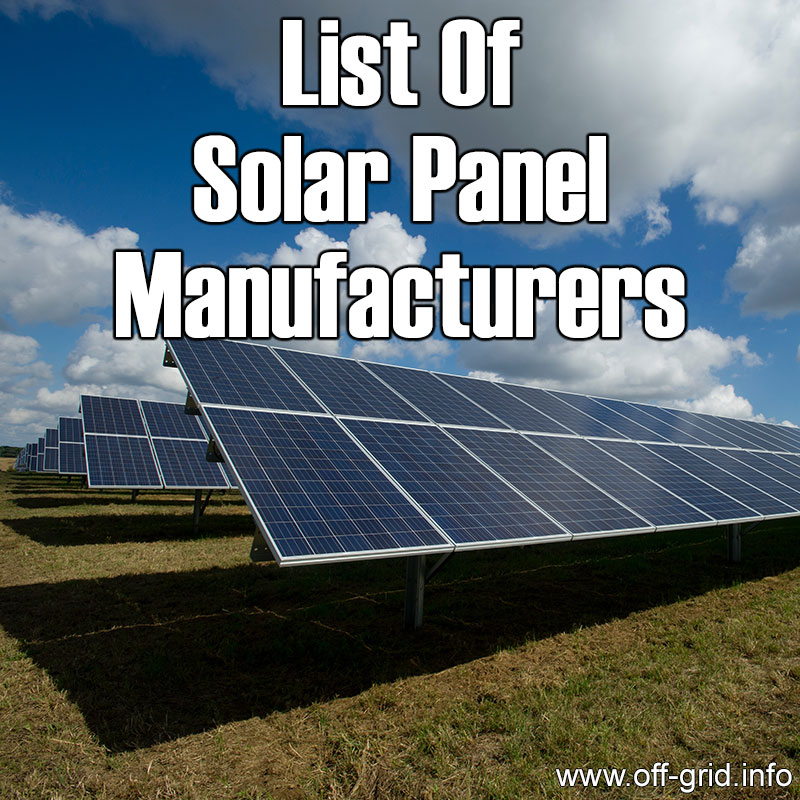 List Of Solar Panel Manufacturers